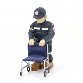 Statuina soccorritore con sedia - divisa blu