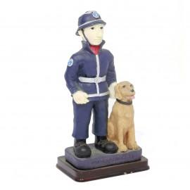 Statuina pompiere con cane - divisa blu/rossa