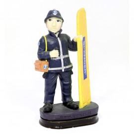 Statuina pompiere con Rock- divisa blu